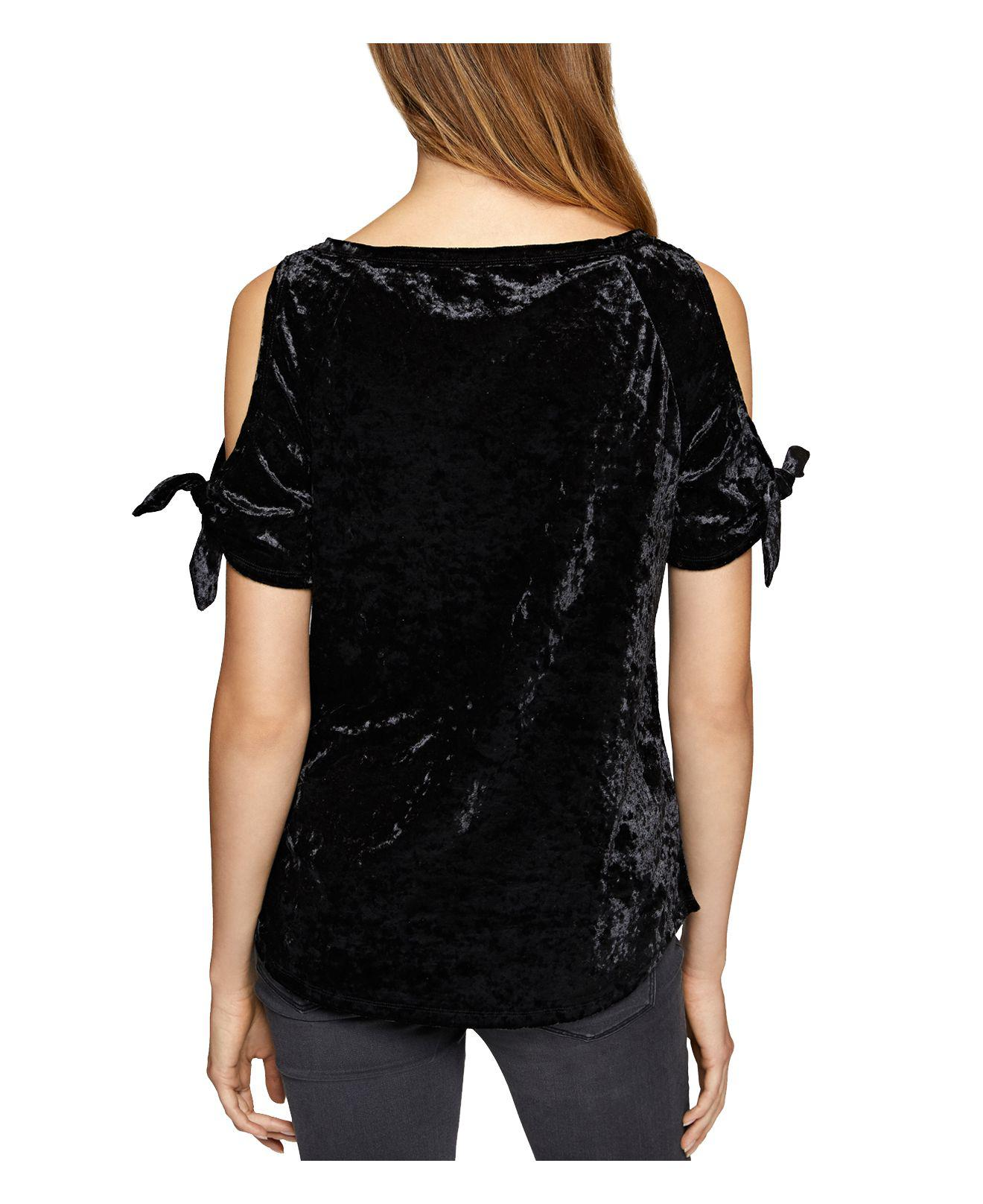14a3ca2adefeb6 Lyst - Sanctuary Lou Lou Crushed Velvet Cold-shoulder Top in Black