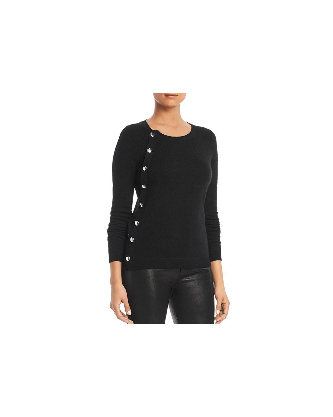 C By Bloomingdale s Asymmetric Button Cashmere Sweater in Black - Lyst 568cd9071