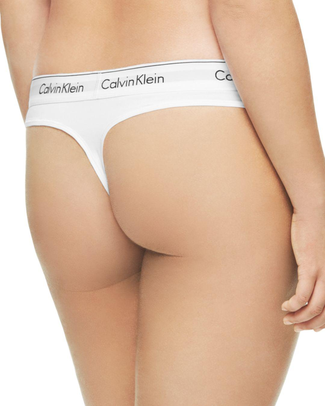 56752af0c4e1 Lyst - Calvin Klein Plus Modern Cotton Thong in White - Save 32%