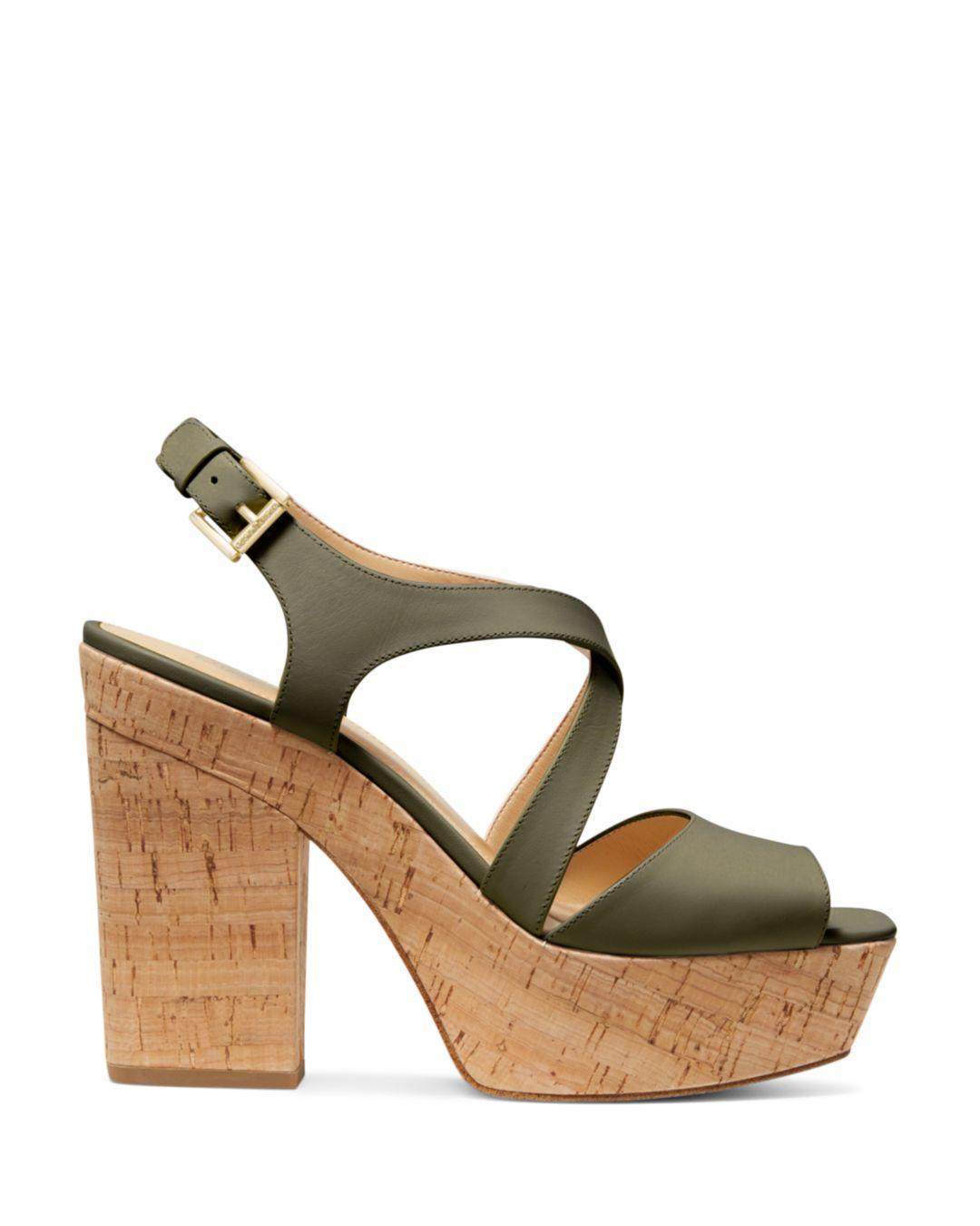 431977ce0af Lyst - MICHAEL Michael Kors Women s Abbott Leather Platform Wedge Sandals  in Green