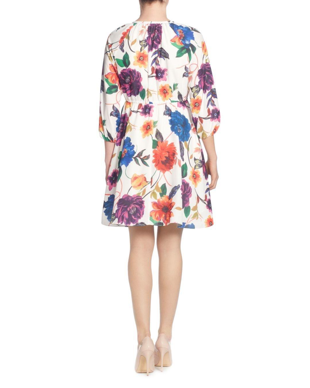 f9095794d9d4 T Tahari Floral - Print Tie - Neck Dress - Lyst
