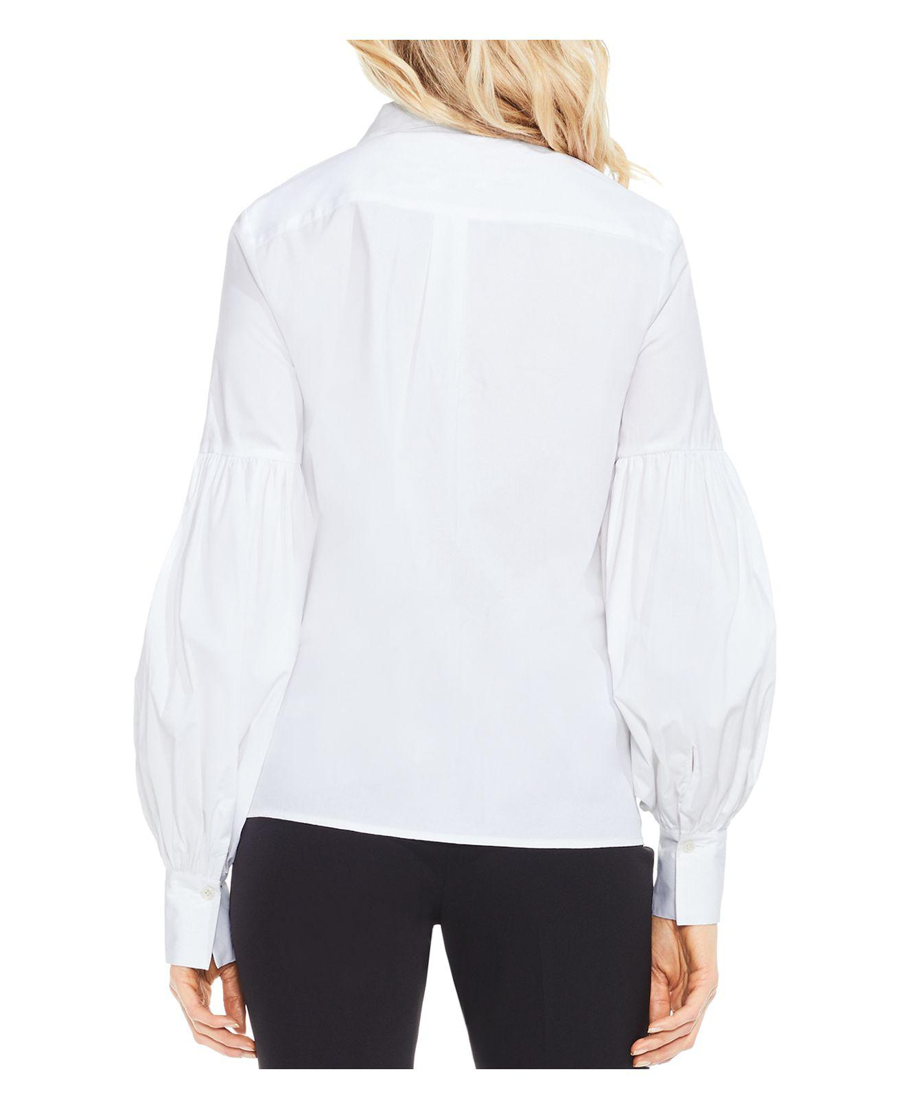 f1a24bf2 Vince Camuto Puff Sleeve Button Down Shirt in White - Lyst
