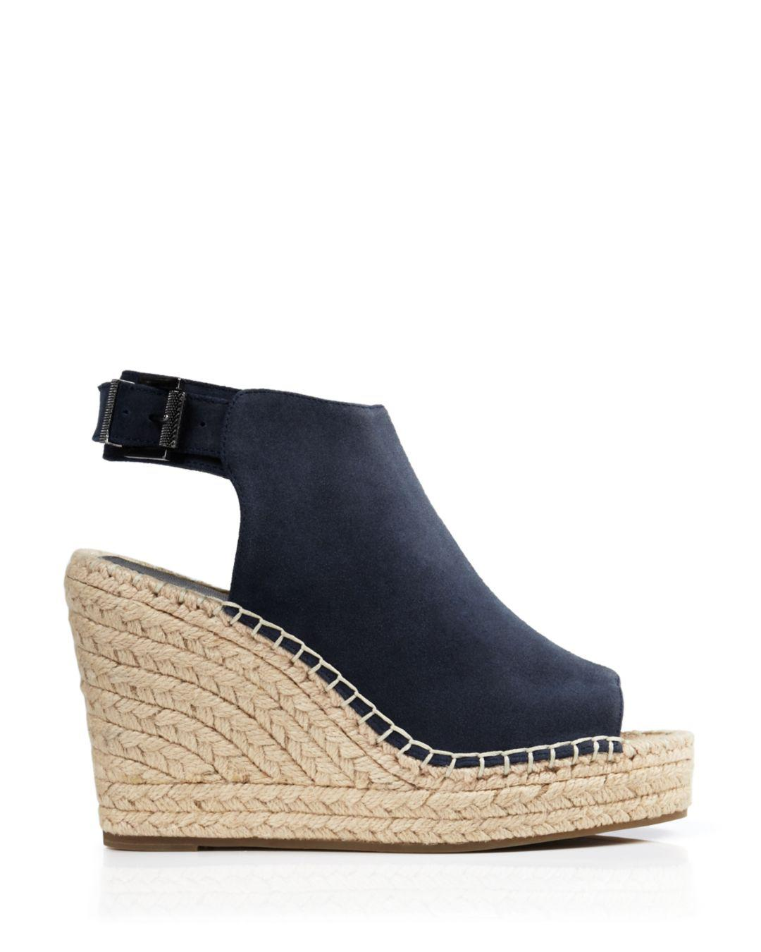b2139c7be043 Lyst - Kenneth Cole Olivia Suede Espadrille Wedge Platform Sandals in Blue  - Save 54%