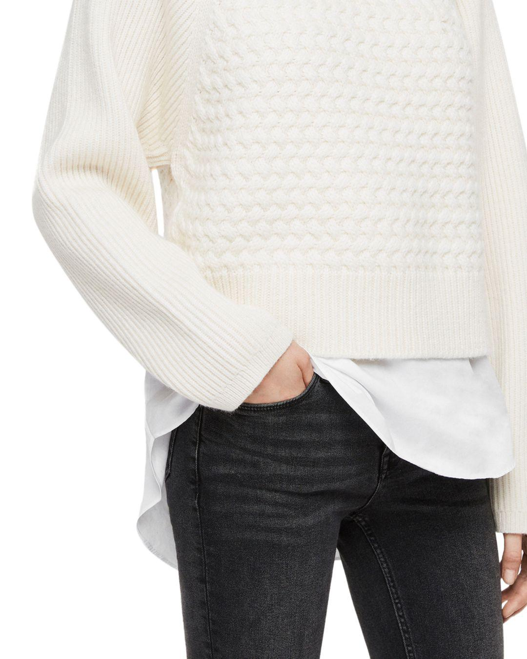 161d07bf26f1 AllSaints Jones Layered-look Cable-knit Sweater in White - Lyst