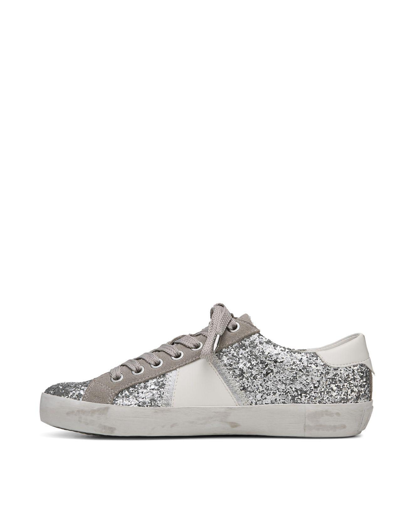 Sam Edelman Women's Baylee Suede & Glitter Low Top Lace Up Sneakers VdMRM