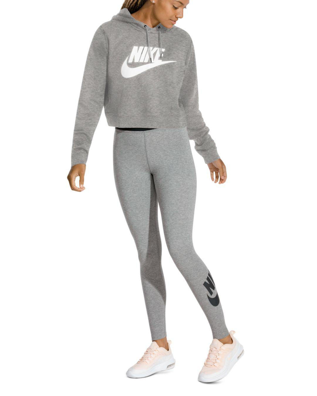 08b248c3c7a9 Lyst - Nike Rally Cropped Hooded Sweatshirt in Gray