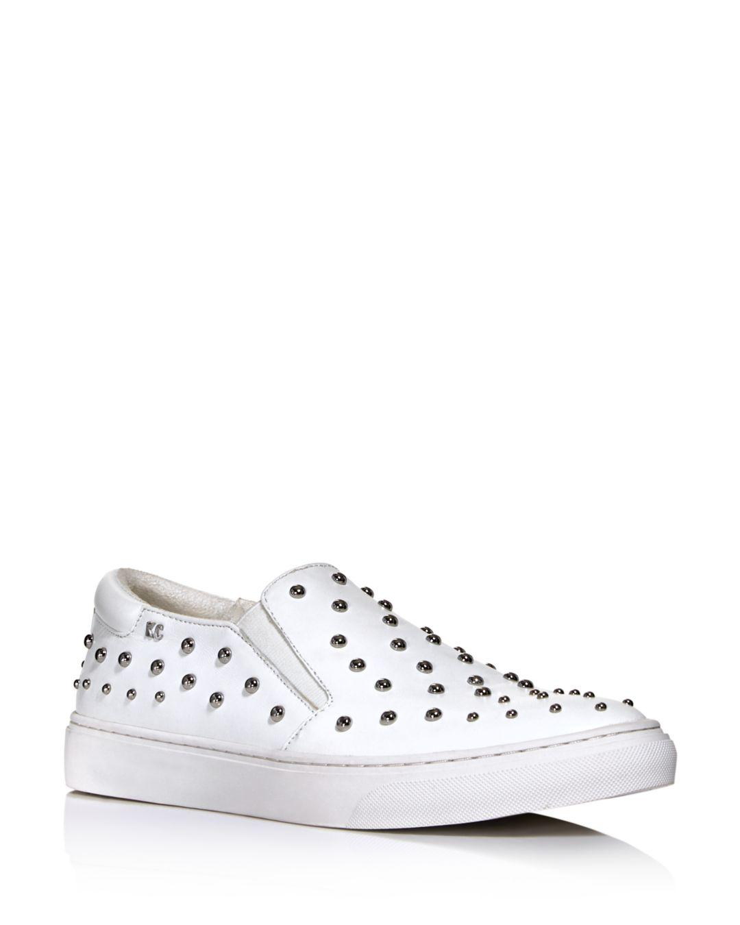 c13c7e3b17f Lyst - Kenneth Cole Women s Mara Stud Leather Slip-on Sneakers in White