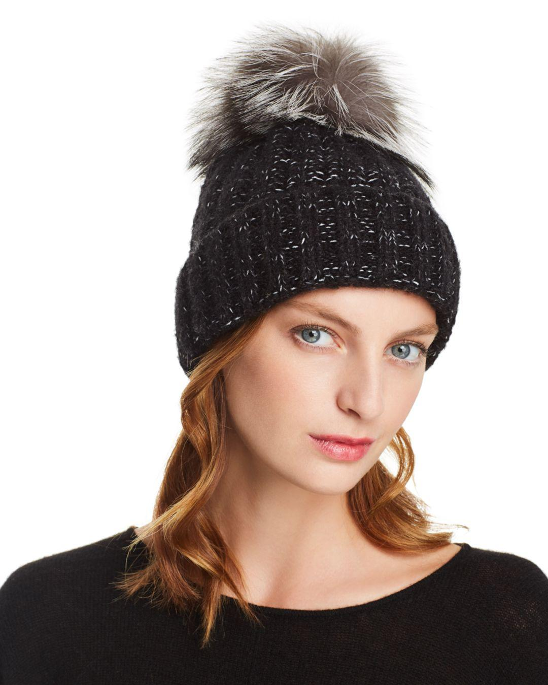 Kyi Kyi Fox Fur Pom-pom Rib-knit Beanie in Black - Lyst 99f61ee93da8