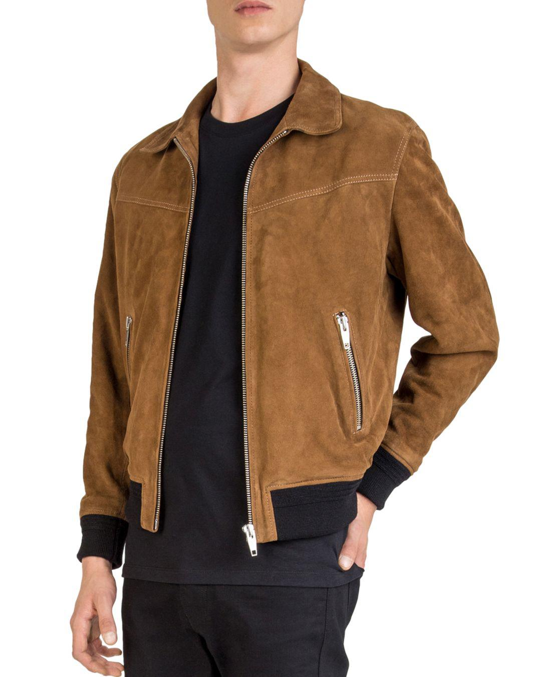 Lyst The Kooples Suede Leather Jacket In Brown For Men