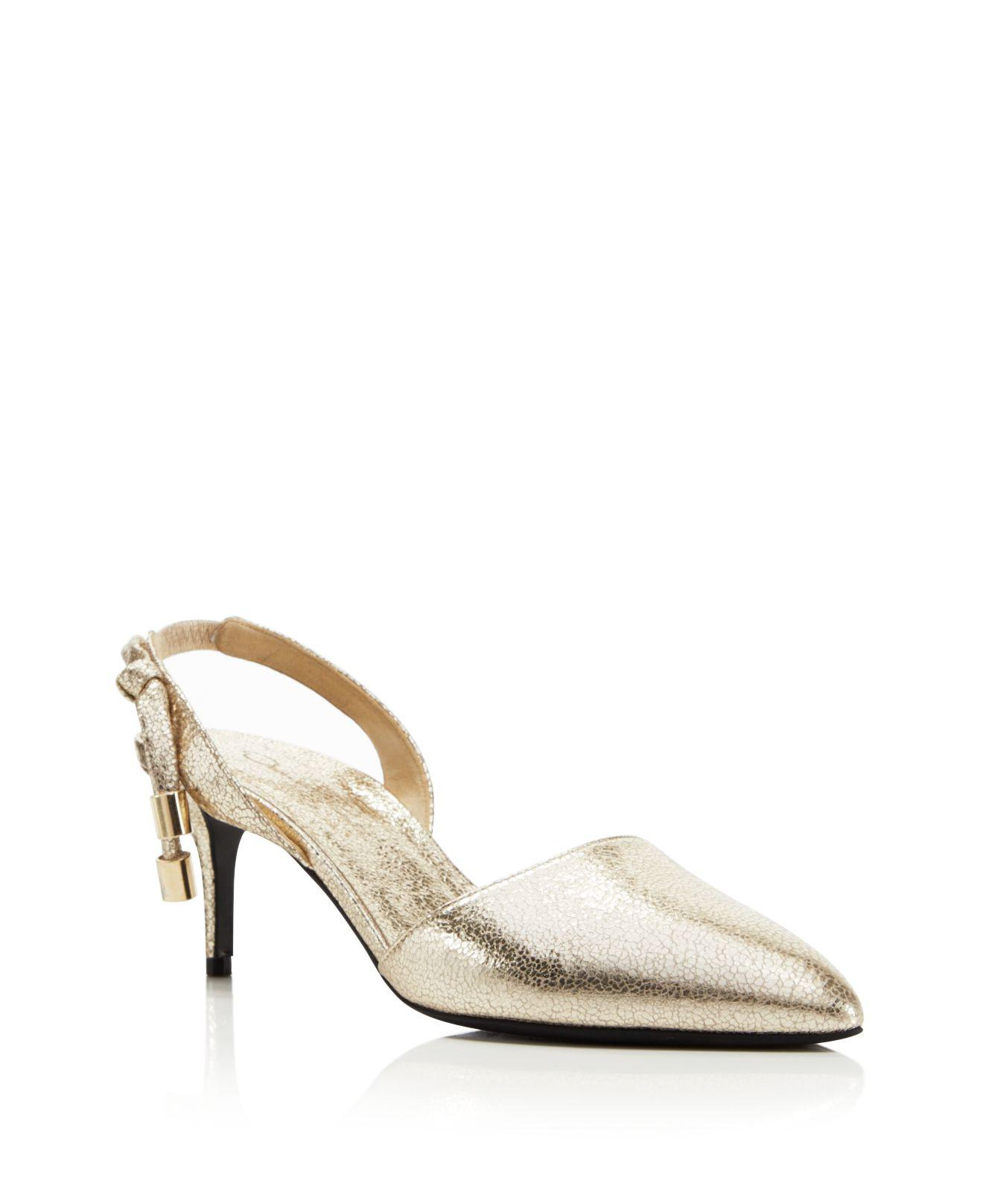 Oscar de la Renta Embossed Leather Slingback Pumps from china online clearance find great Cheapest cheap price 2abwMJet9