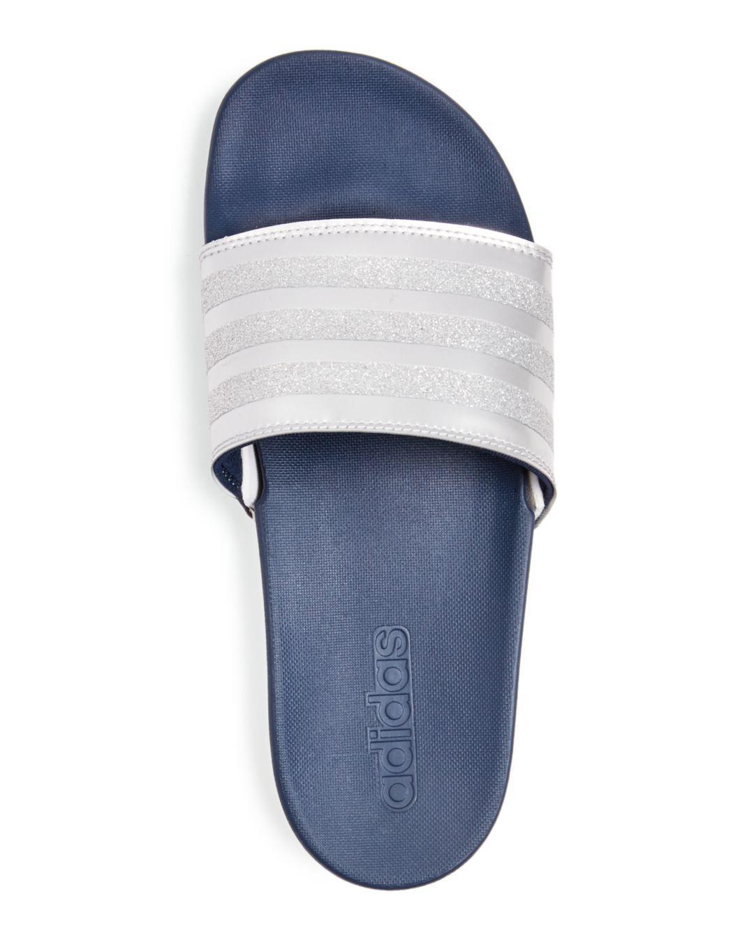 8b1eb002fb1f Lyst - adidas Women s Adilette Comfort Glitter 3-stripe Pool Slide ...