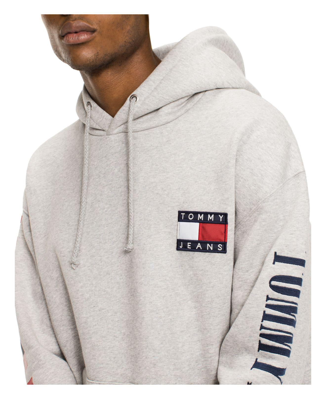 ab3d50e1c Tommy Hilfiger Tommy Jeans 90's Logo Hooded Sweatshirt in Gray for ...