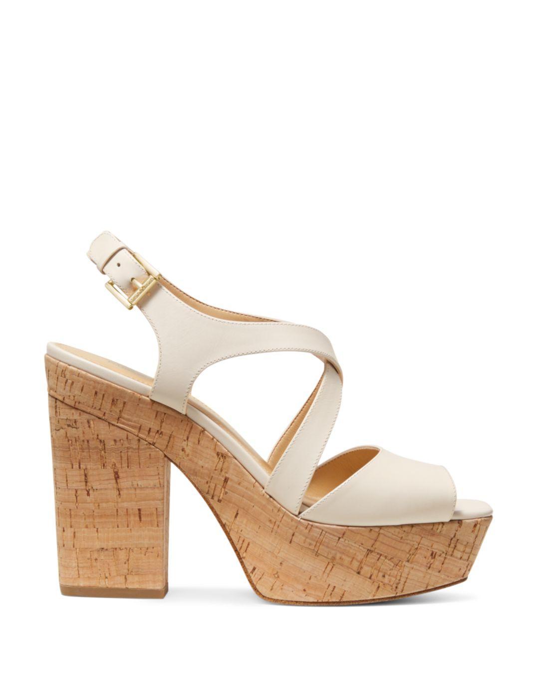 2d3c0a095cb62 Lyst - MICHAEL Michael Kors Women s Abbott Leather Platform Wedge Sandals