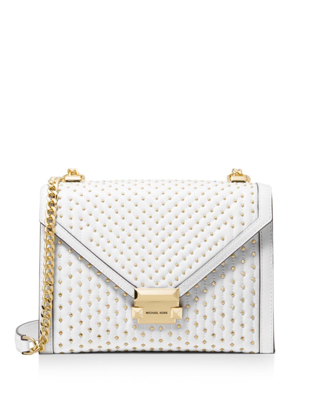 de3f5c33a77f MICHAEL Michael Kors. Women s White Whitney Large Studded Leather Shoulder  Bag