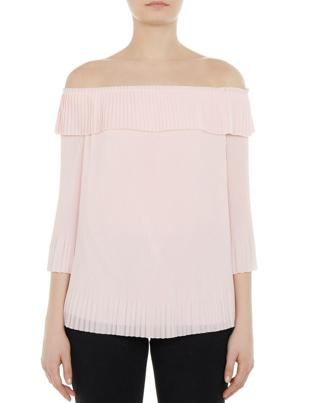 457c2c91ed237 Lyst - Ted Baker Perrey Off-the-shoulder Pleated Top in Pink