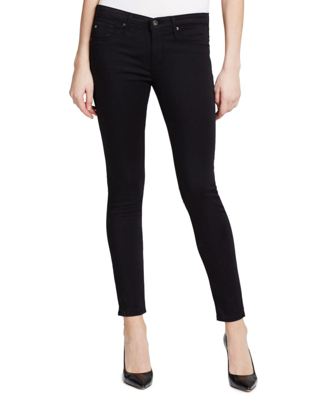 b68b3abb15ee1 AG Jeans Legging Ankle Jeans In Black Stretch Sateen in Black - Save ...