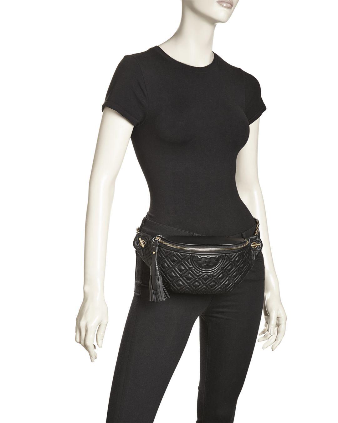 9246df7956b7 Lyst - Tory Burch Fleming Leather Belt Bag in Black