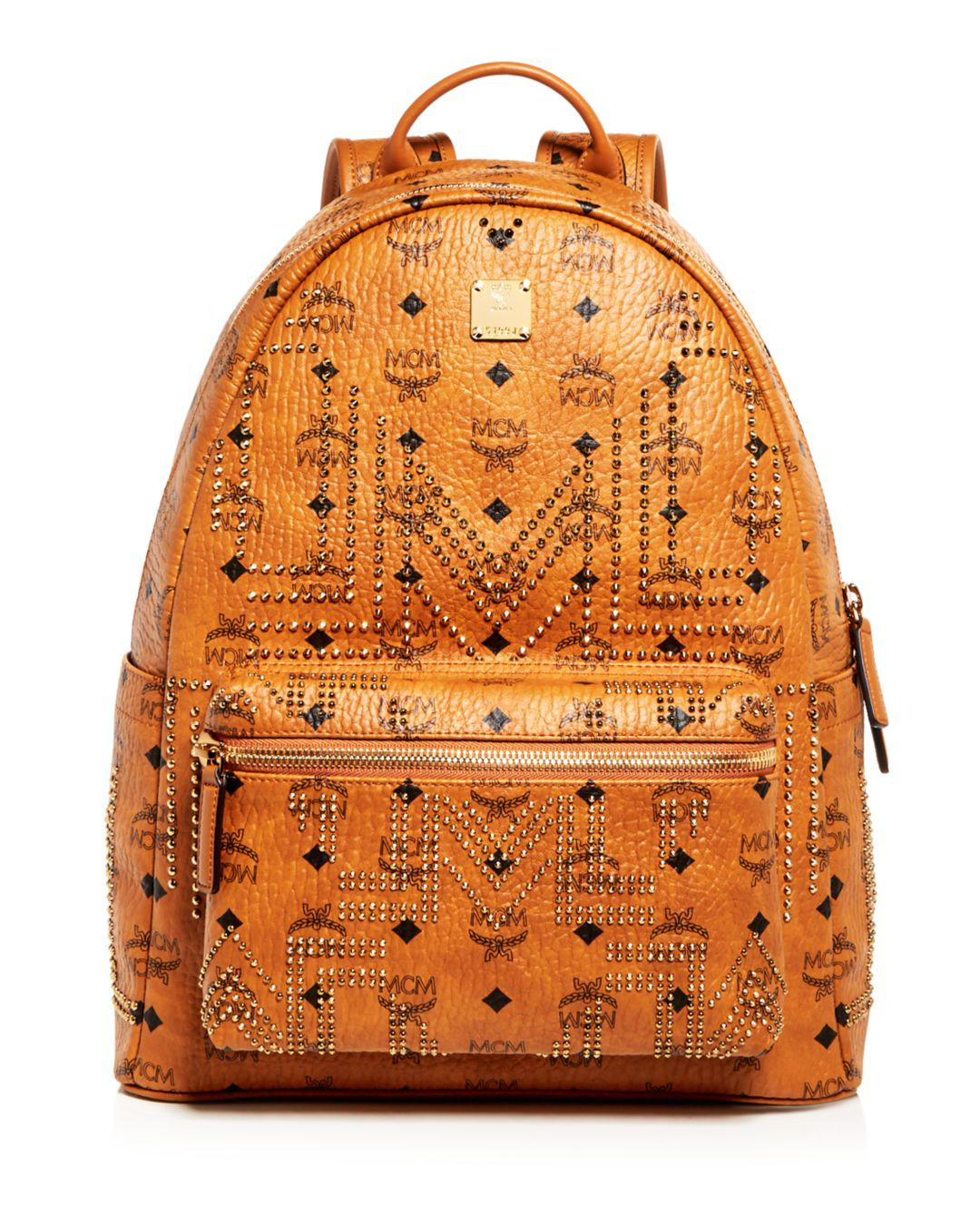 cb74b908de5 Mcm Stark Gunta Medium Studded Backpack in Orange for Men - Lyst