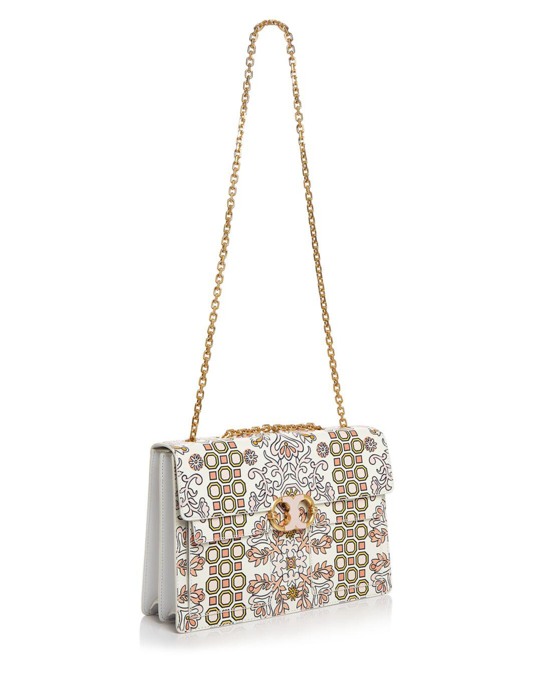 ee35aa3cb9a Tory Burch Gemini Link Large Printed Leather Shoulder Bag in ...