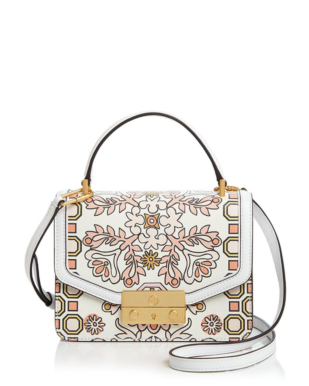 76d773bf07bd Lyst - Tory Burch Juliette Printed Mini Leather Satchel