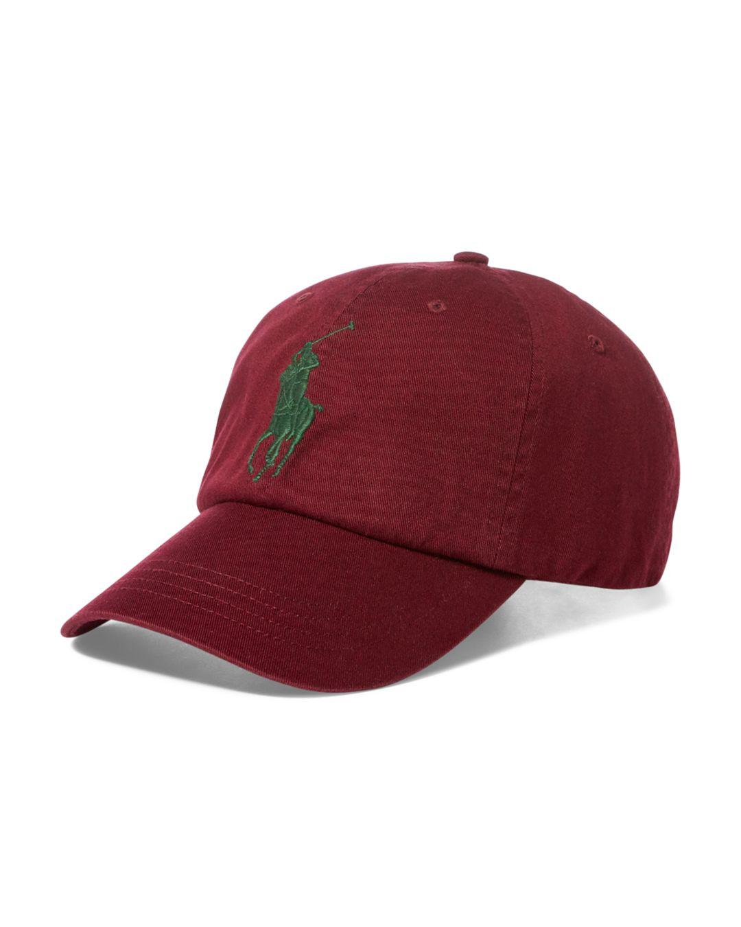Lyst - Polo Ralph Lauren Polo Logo Chino Baseball Cap in Red for Men 20381ac40186