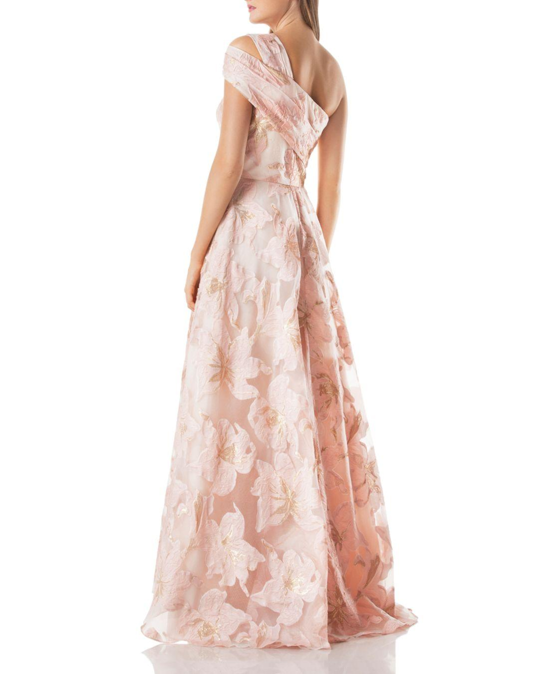2520c9c3e17 Carmen Marc Valvo Burnout One - Shoulder Ball Gown in Pink - Lyst