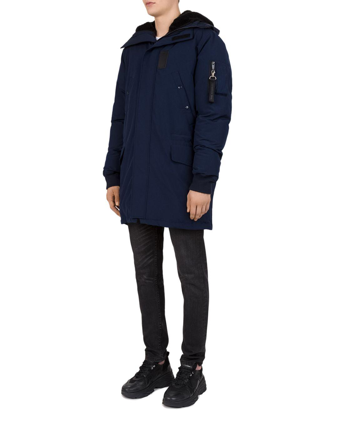 76895734fa The Kooples - Blue Mixed - Media Puffa Parka Jacket for Men - Lyst. View  fullscreen
