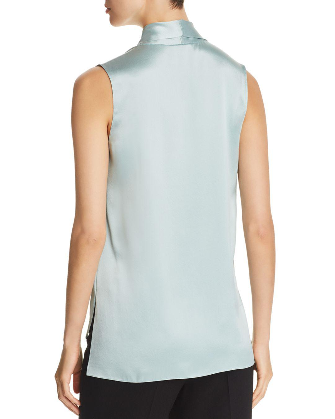b9129d4041fac9 Lyst - Elie Tahari Kendal Tie-neck Silk Top in Blue