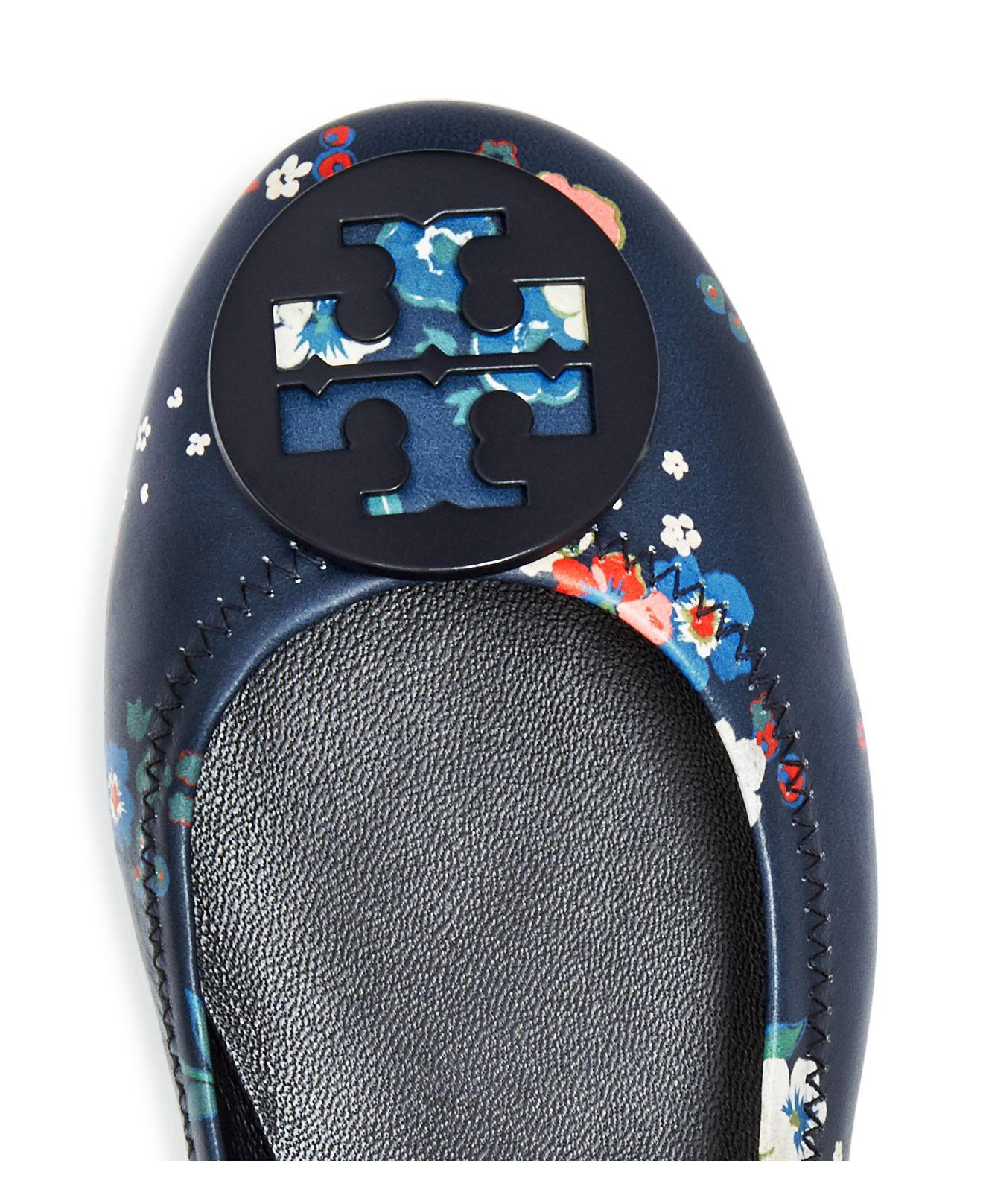 45d6512c729cb ... uk tory burch womens minnie floral leather travel ballet flats in blue  9576e 74d31