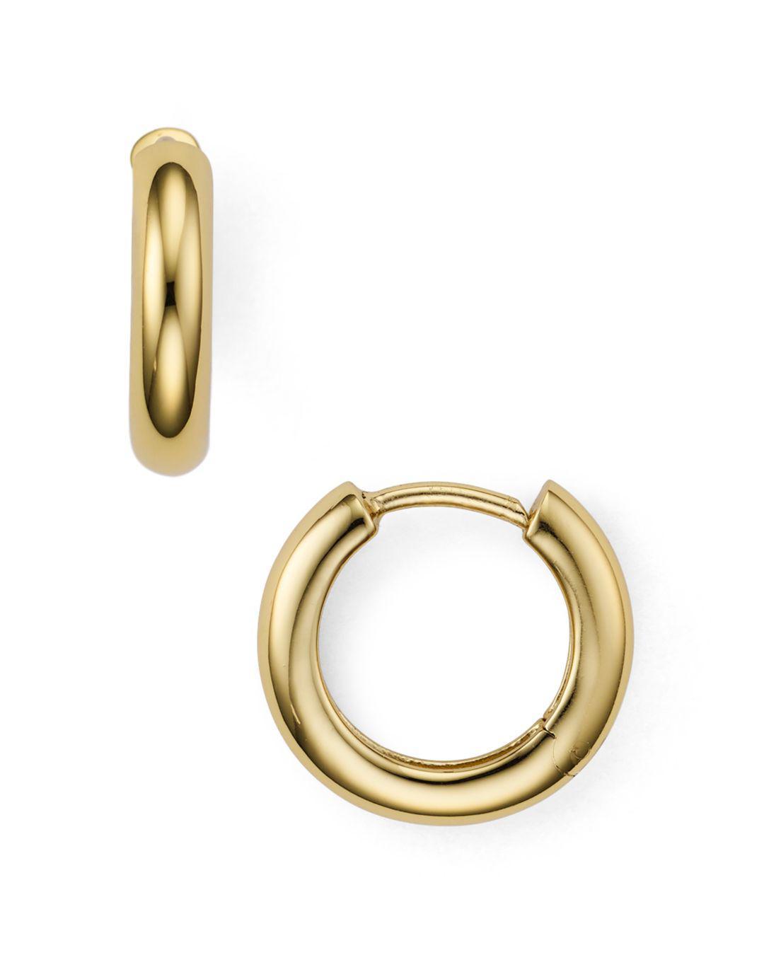 Lyst Argento Vivo Huggie Hoop Earrings In 14k Gold Plated Sterling