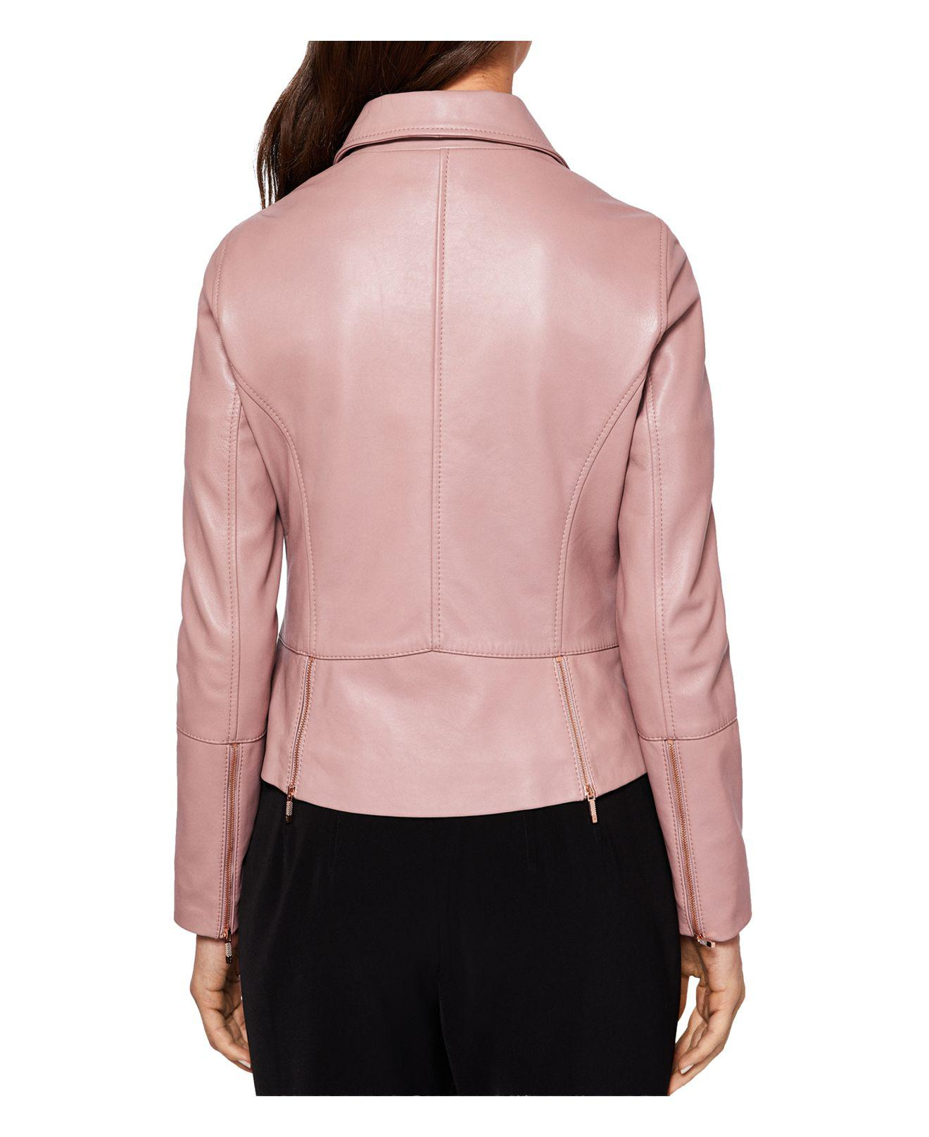 0564bcac131b Lyst - Ted Baker Lizia Leather Biker Jacket in Pink