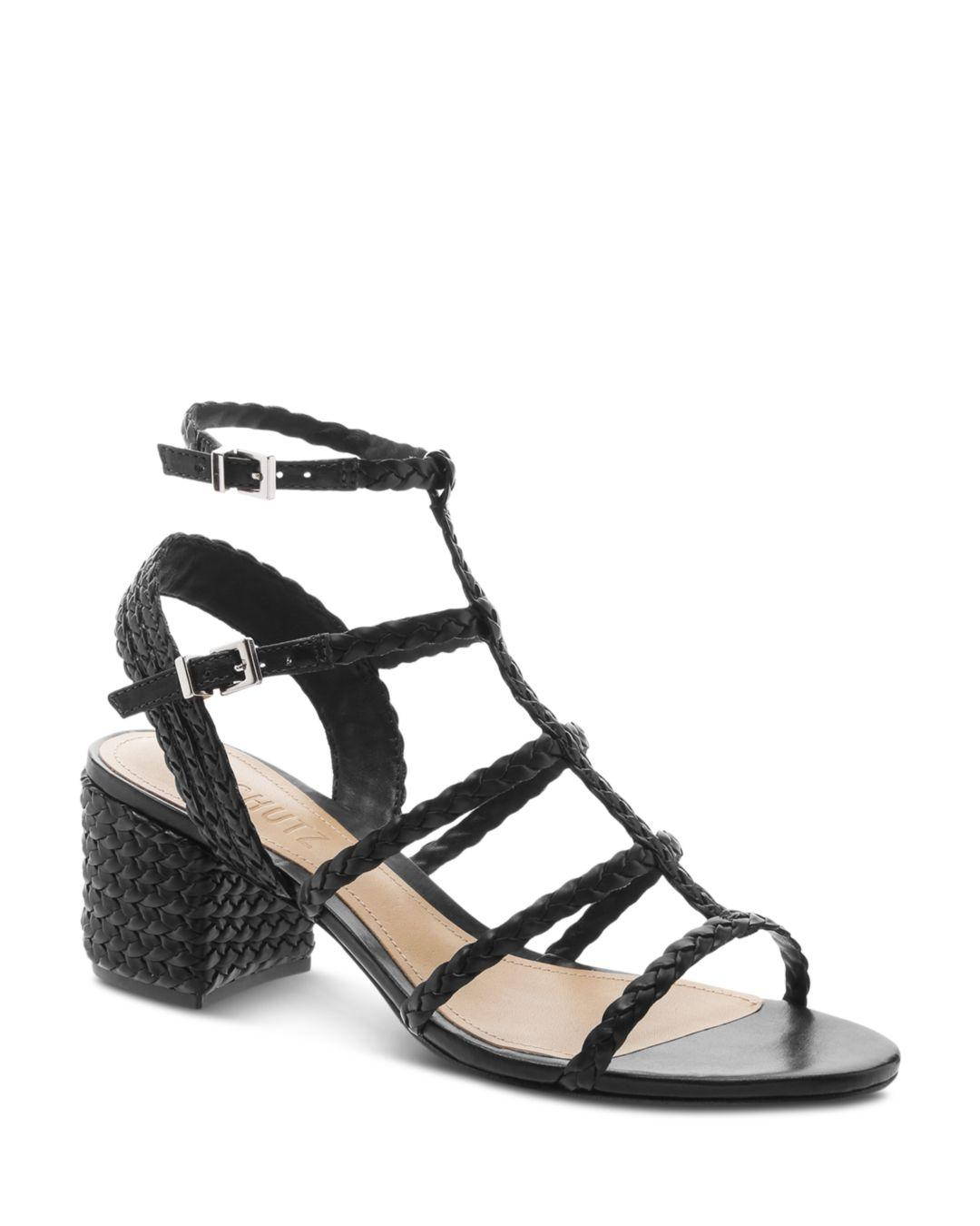 ba5d17be1349 Lyst - Schutz Rosalia Braided Leather Caged Sandals in Black - Save 3%