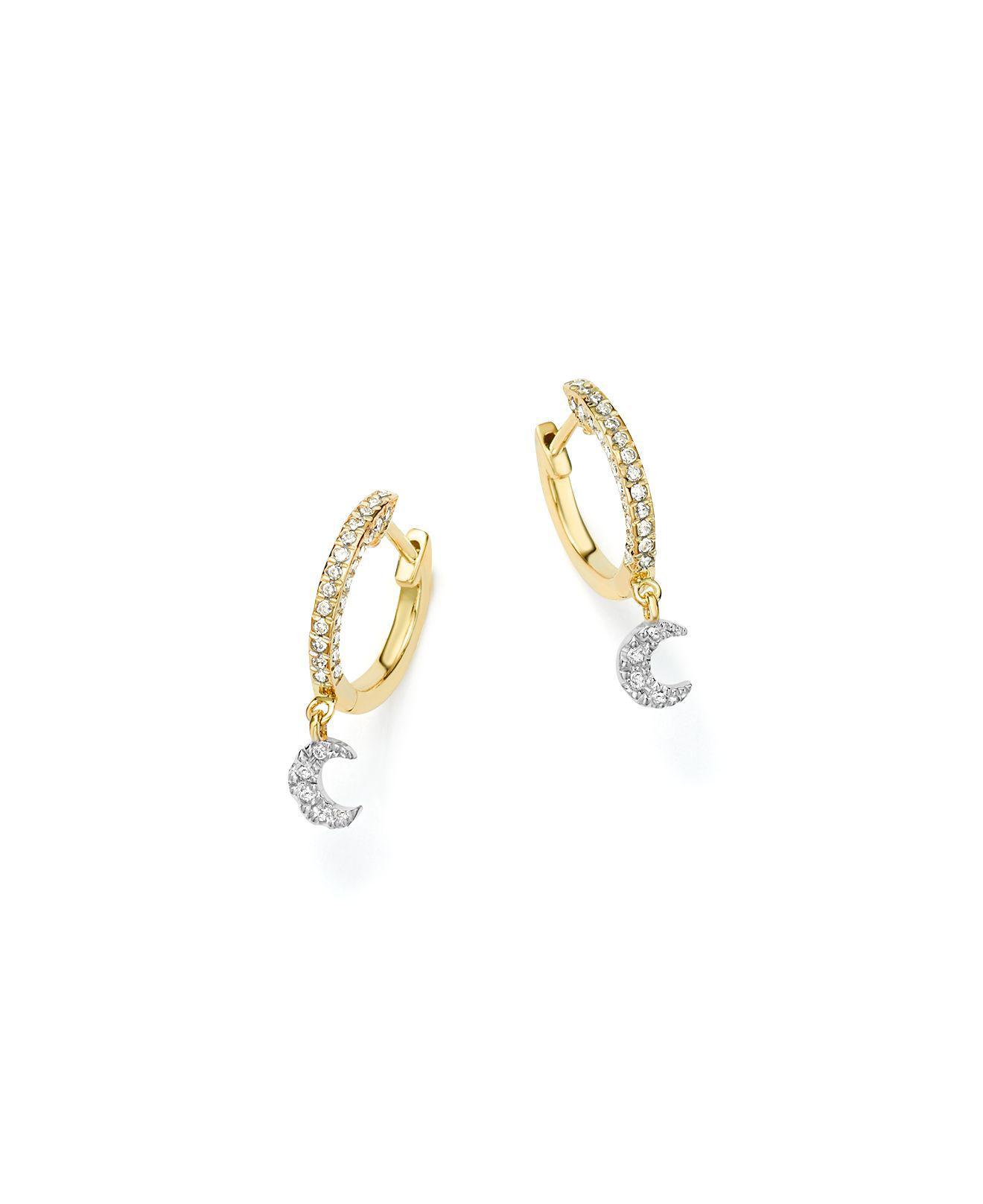 14K White Gold And Diamond Earrings Meira T WQG4MXk03d