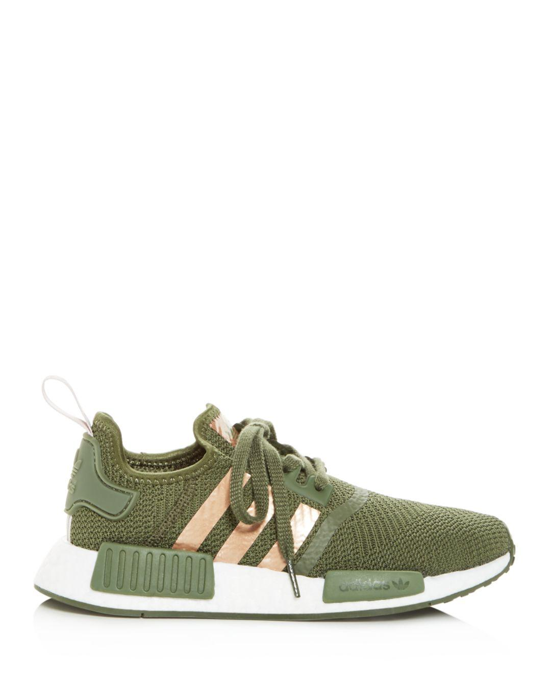 cb2a3e6f3a6bd Lyst - adidas Women s Nmd R1 Knit Lace Up Sneakers in Green