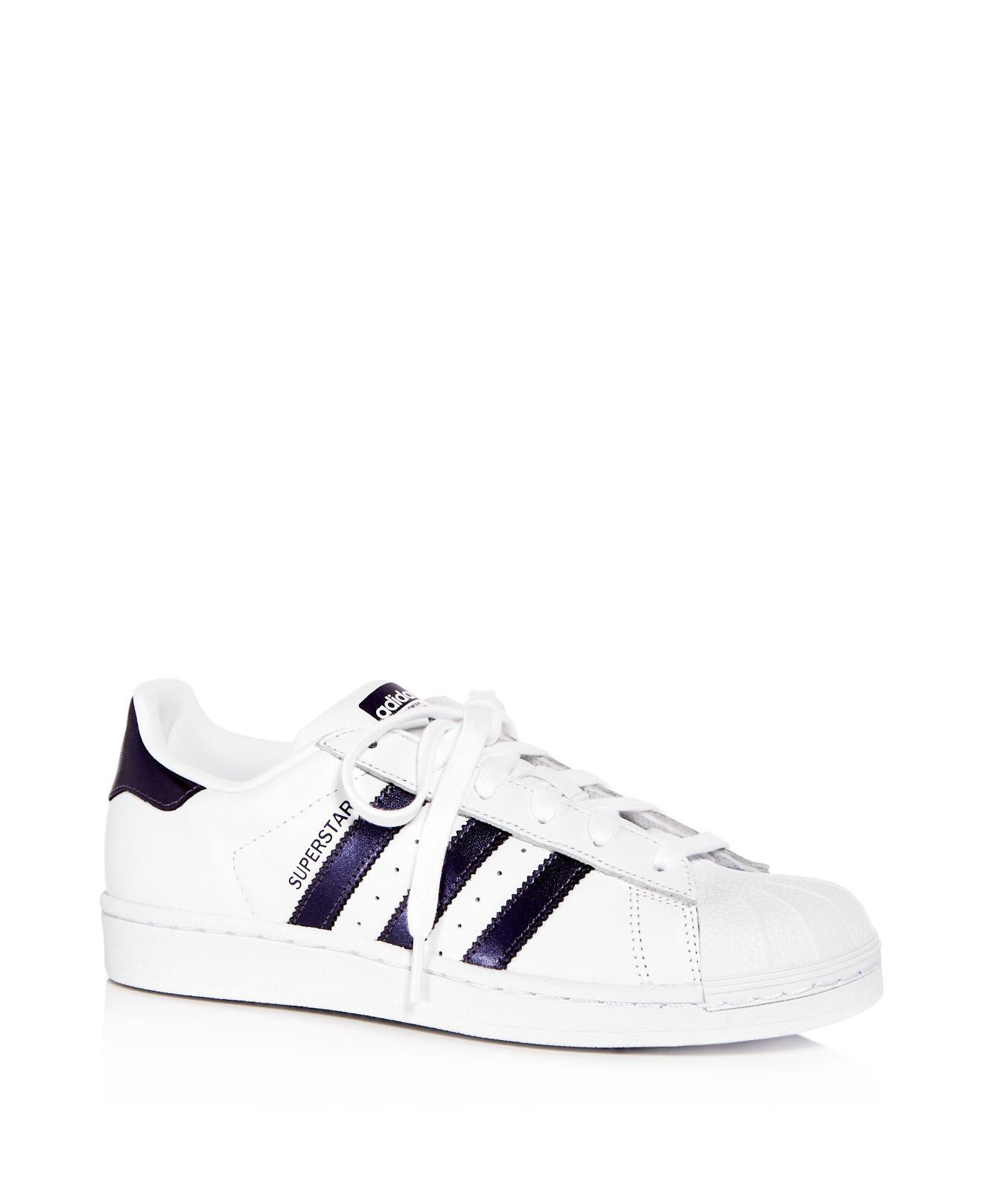 Lyst Mujeres Adidas Superstar Leather Lace - up zapatilla en color blanco