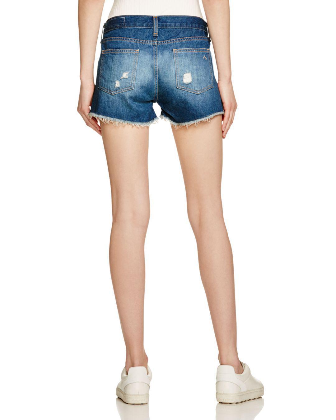 9a2b2bd0423 Lyst - Rag   Bone Cutoff Denim Shorts In Freeport in Blue - Save 65%