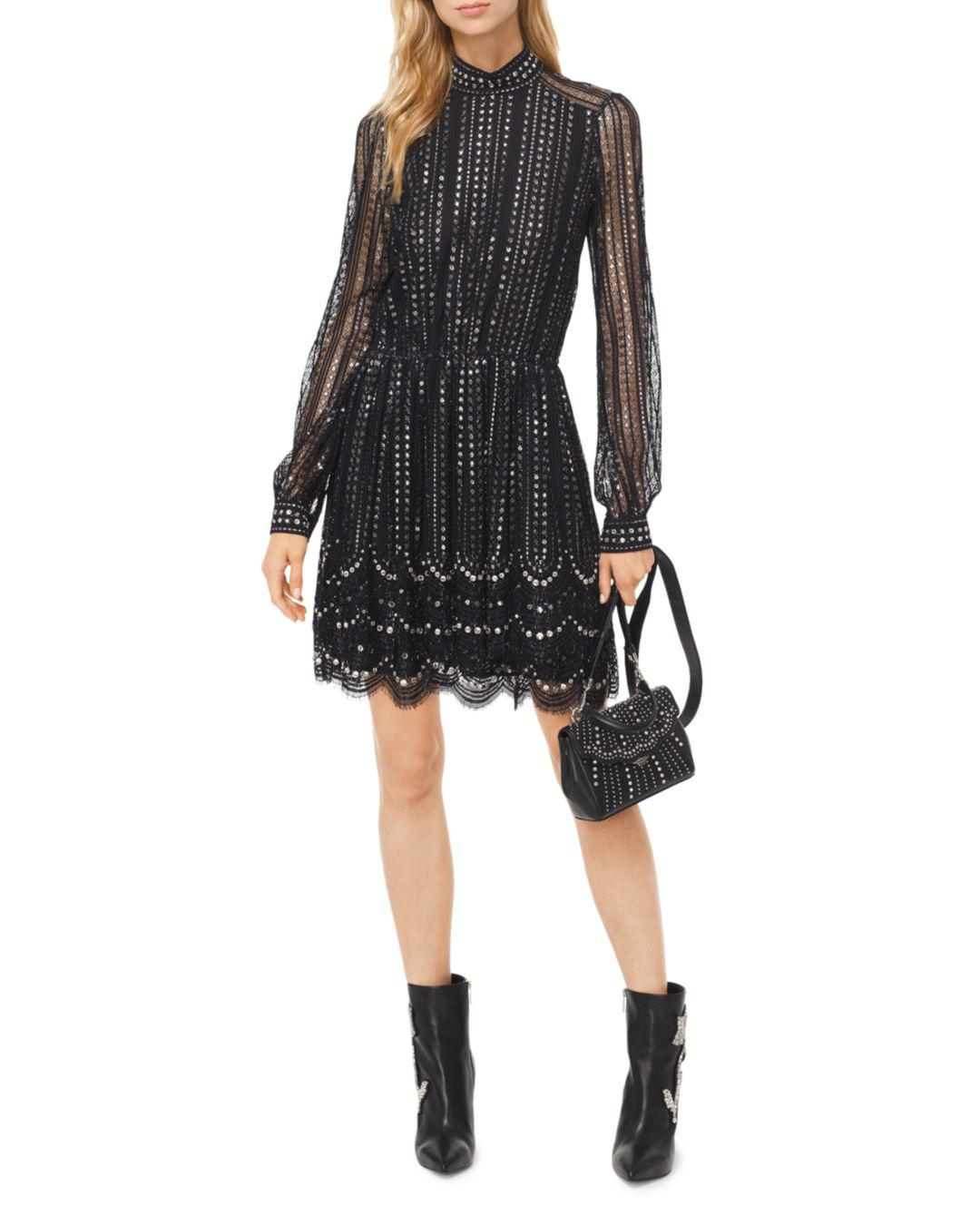 06fd20852b0 Lyst - MICHAEL Michael Kors Embellished Embroidered Lace Dress in Black