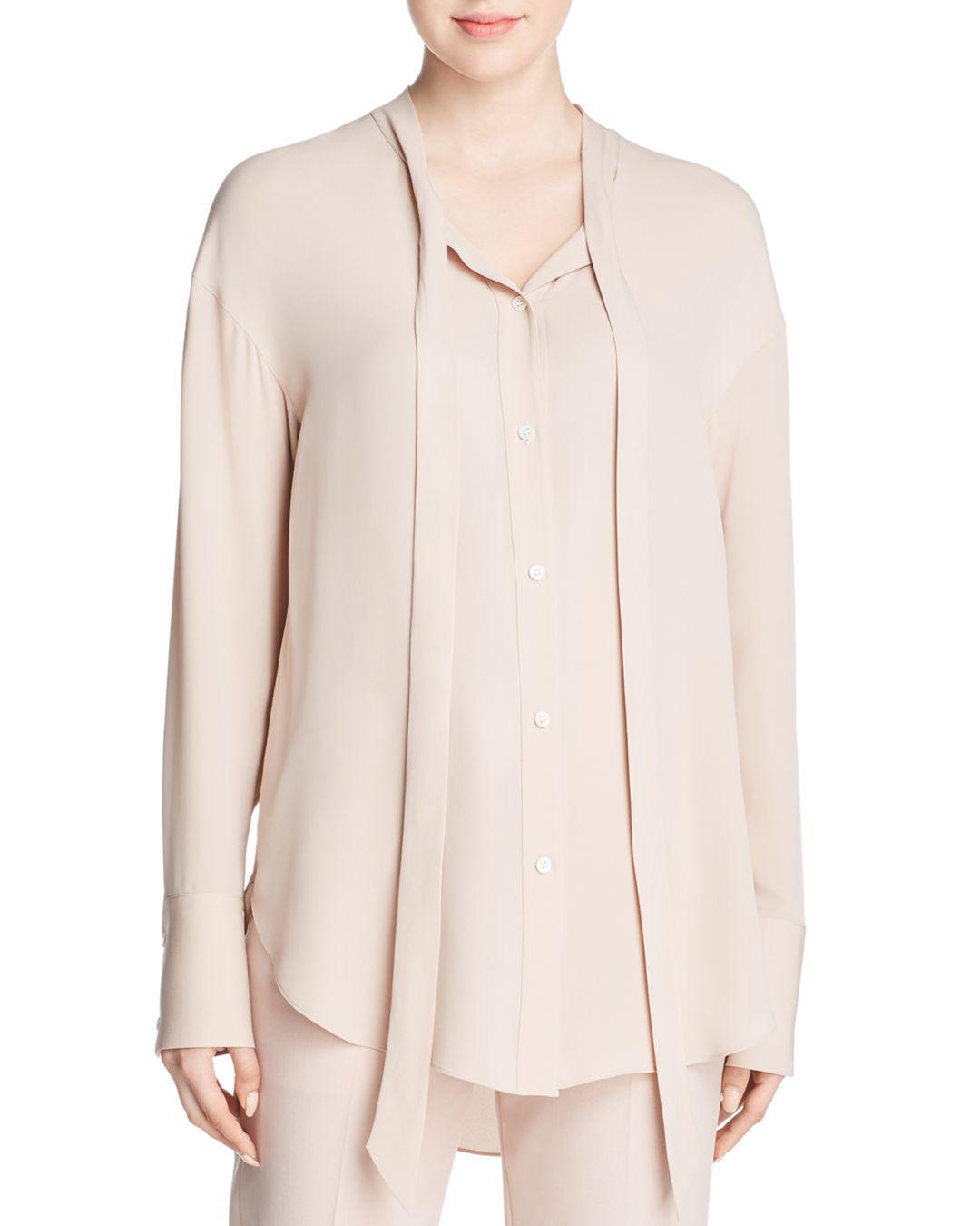 09021abfb94c62 Theory Weekender Tie-neck Silk Shirt in Pink - Lyst