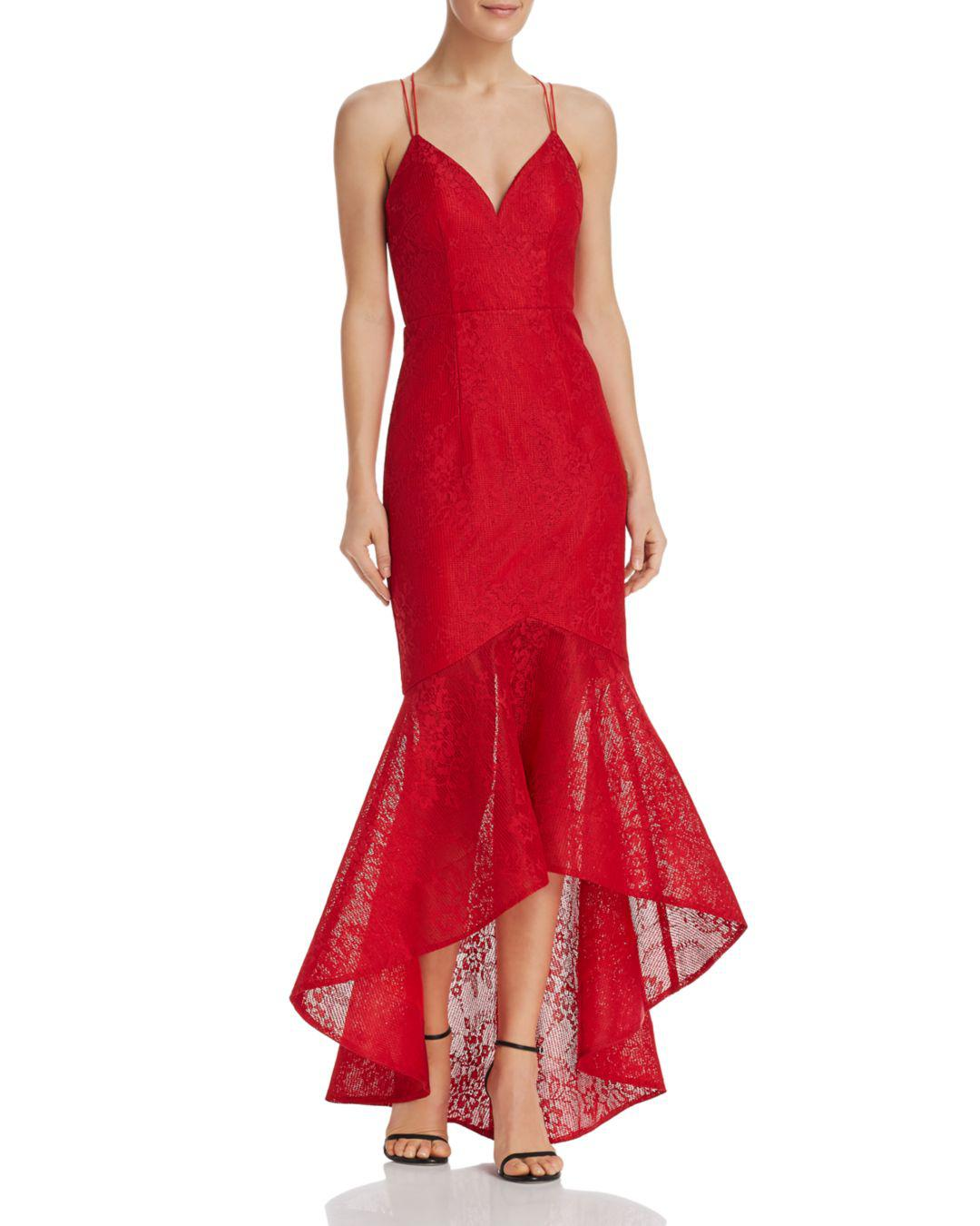6c52af643419 Lyst - Bariano Lace Fishtail Dress in Red