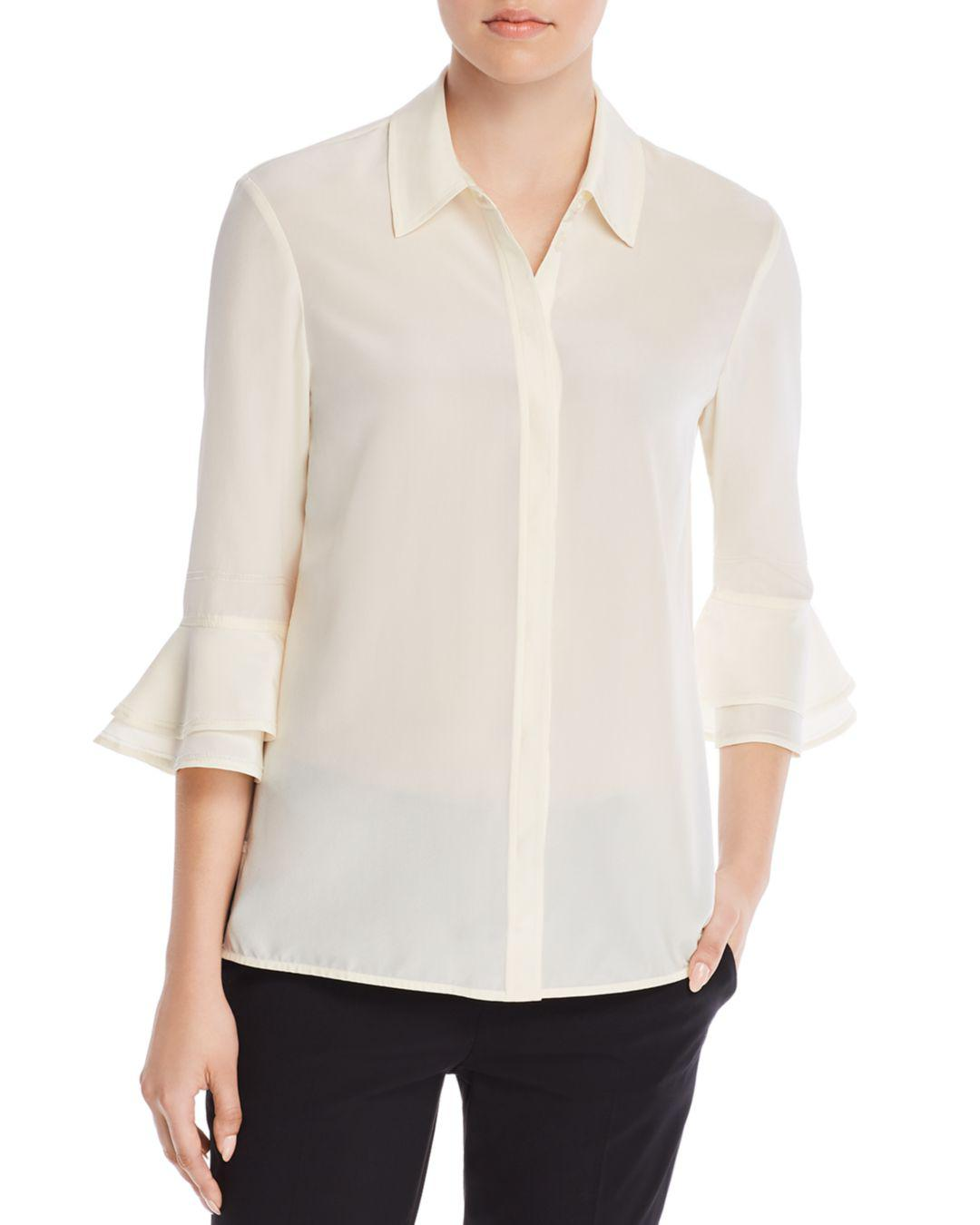 905f6e51c60 Tory Burch Arianne Tiered Bell-sleeve Silk Shirt in White - Lyst