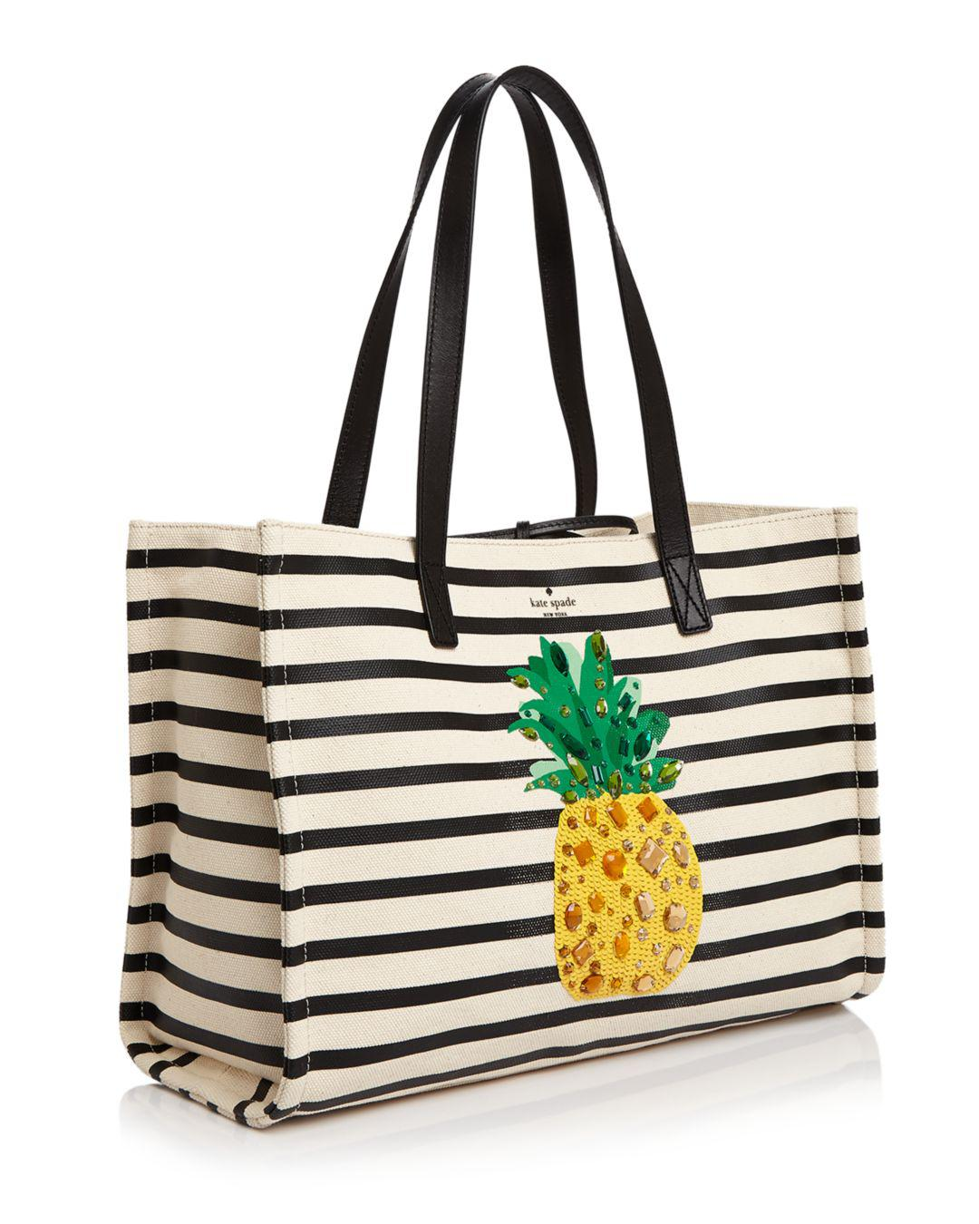 ce071278b Kate Spade By The Pool Pineapple Mega Sam Embellished Canvas Tote - Lyst