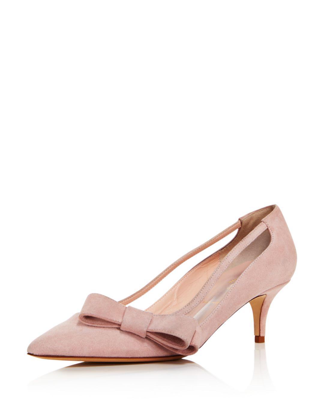 12e47462d14d Kate Spade Women's Mackenzie Suede Bow Mid-heel Pumps in Pink - Lyst