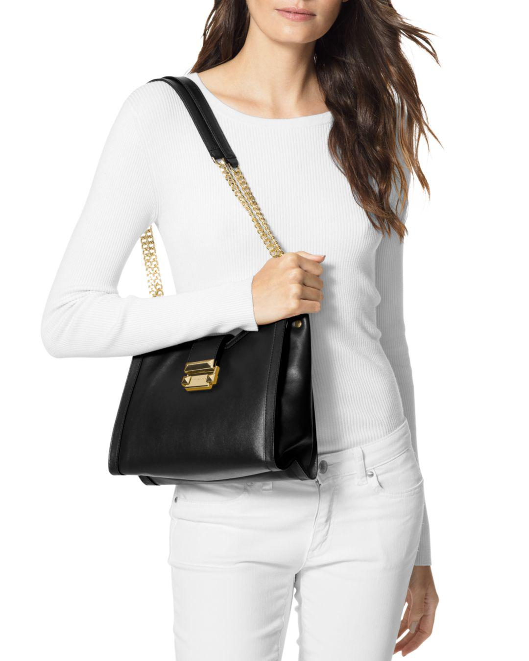 3ca03a5d71546 Lyst - MICHAEL Michael Kors Whitney Small Chain Shoulder Tote in Black