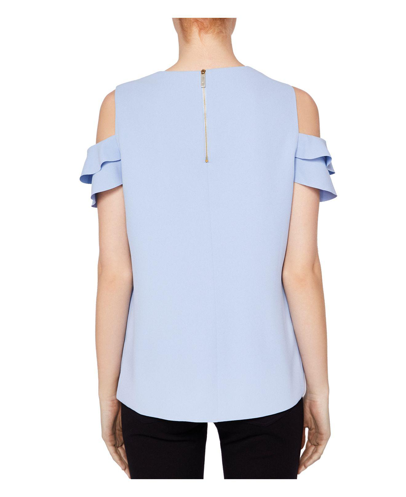 94cef2b968c67 Lyst - Ted Baker Hopee Cold-shoulder Frill Top in Blue