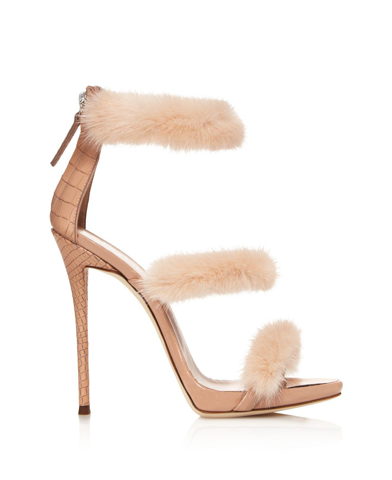 eb5153d154c99 Giuseppe Zanotti Triple Band Mink Fur High Heel Sandals - Lyst