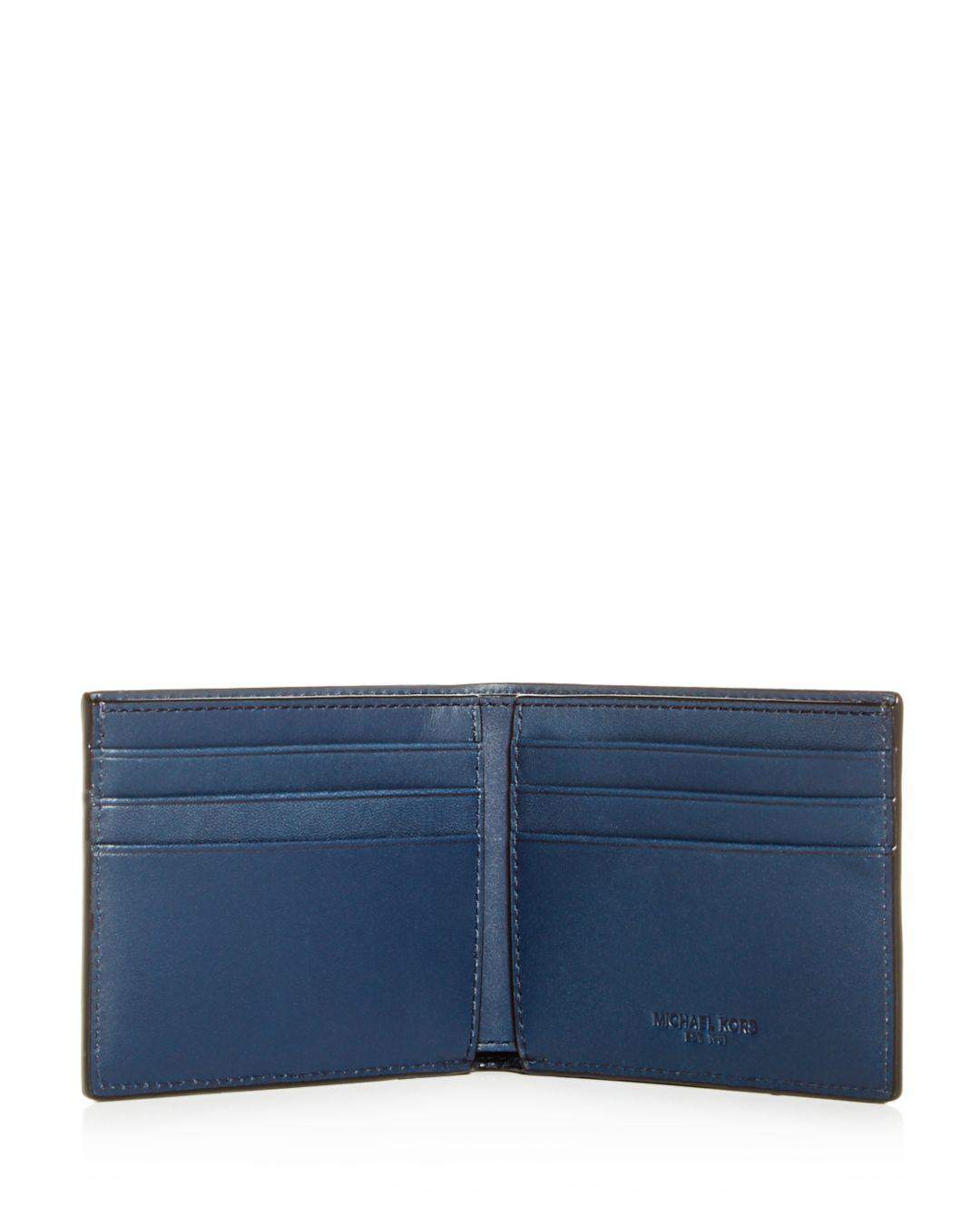 1a1ac431a8f3 Michael Kors Henry Slim Leather Bi-fold Wallet in Blue for Men - Lyst