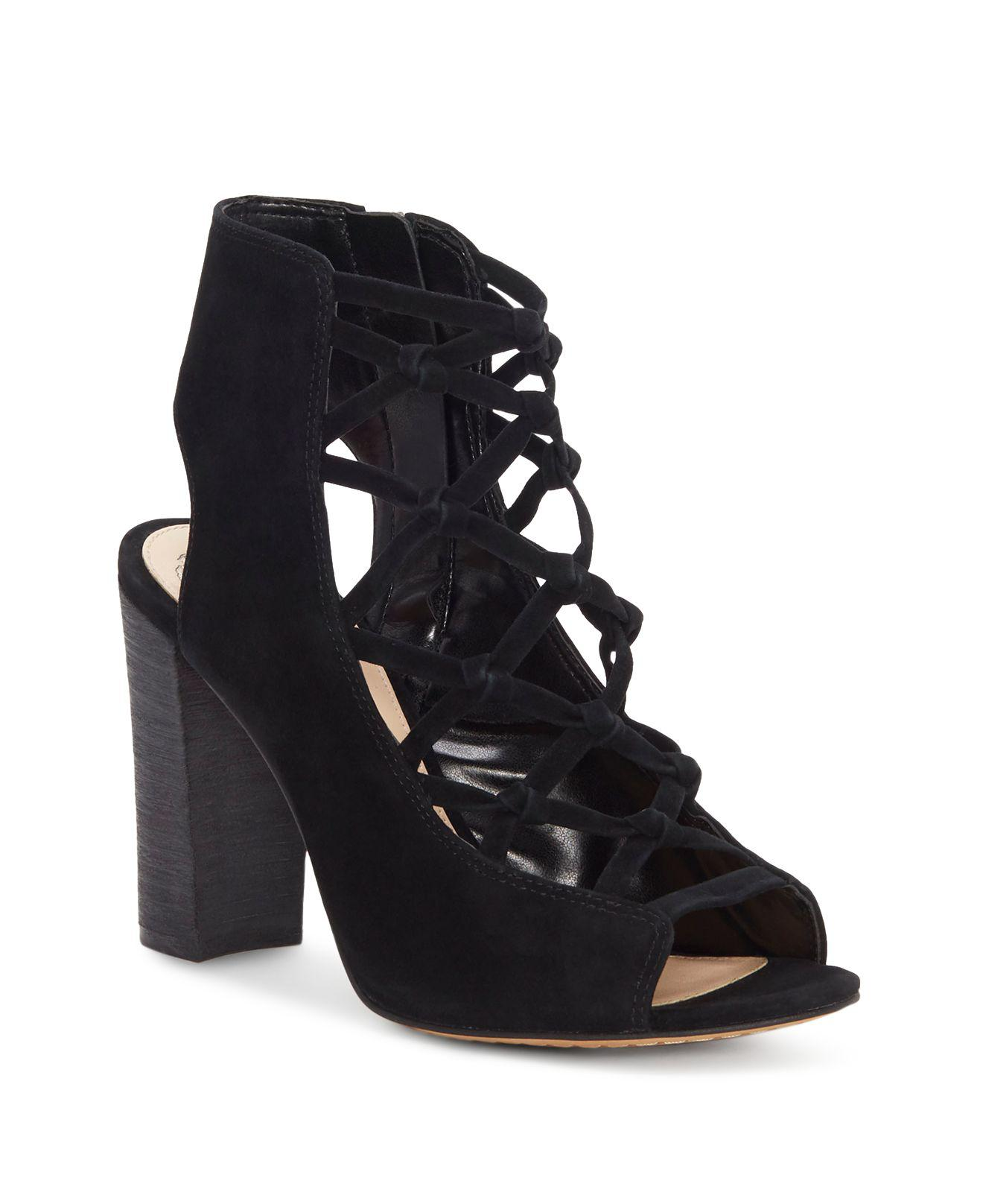 Clearance Low Price Fee Shipping Vince Camuto Women's Stesha Caged Suede Block Heel Sandals Discount For Sale Buy Cheap Deals Cheap Real Authentic Free Shipping Footlocker mLKGmNDRTe