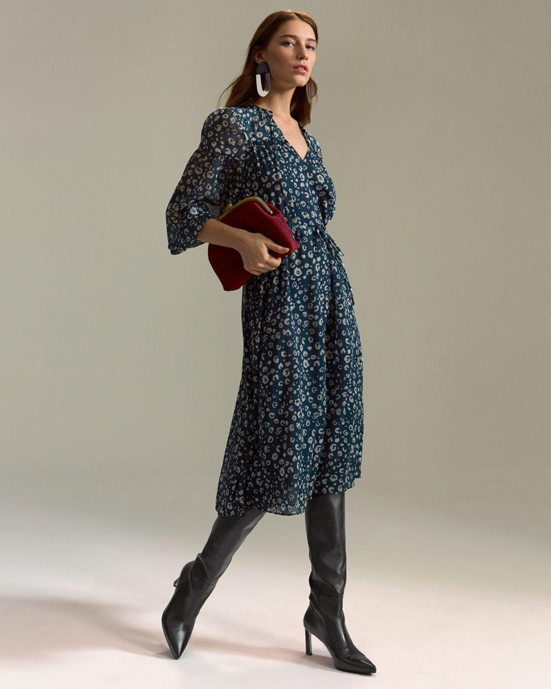 Lyst - Whistles Adrianne Cheetah-print Dress in Green - Save 50% 7dc19b793