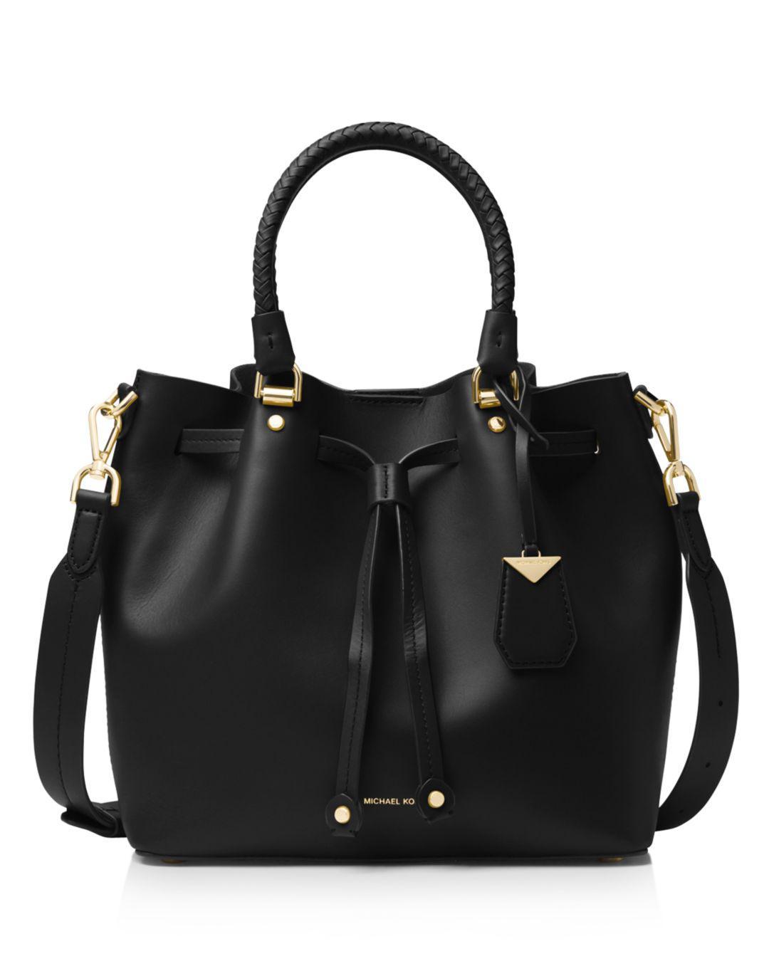 391f11b359fe Michael Michael Kors Medium Leather Bucket Bag in Black - Lyst
