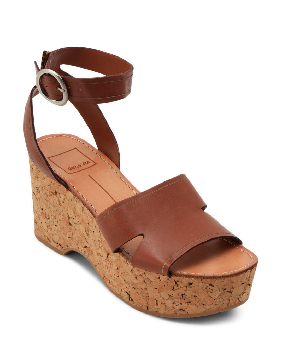 ac0dd50f0f42 Lyst - Dolce Vita Women s Linda Leather   Cork Platform Sandals in Brown